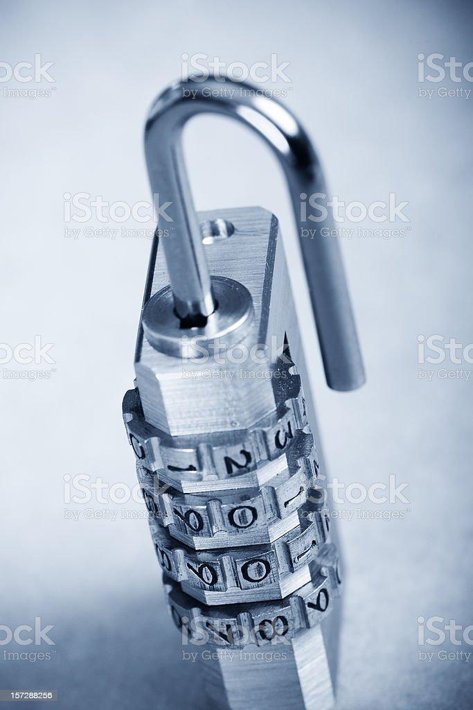 Unlocked combination padlock royalty-free stock photo