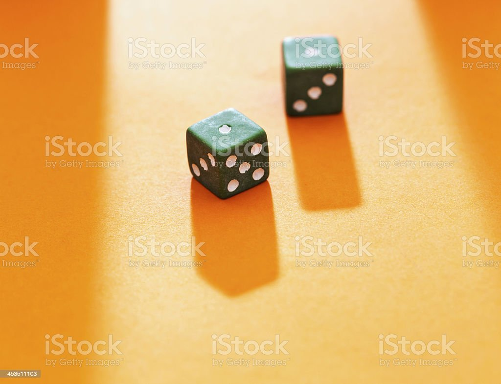 Unlucky gambling throw of 2 or snake eyes royalty-free stock photo
