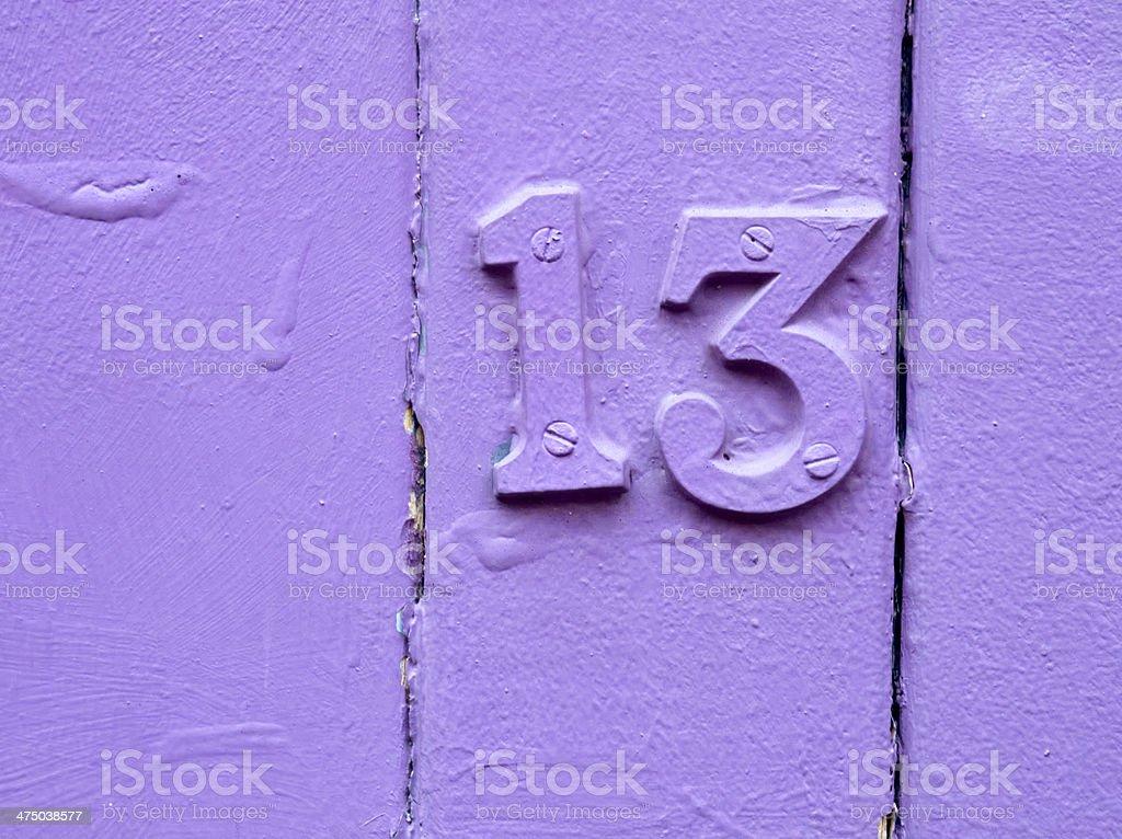 unlucky purple thirteen stock photo