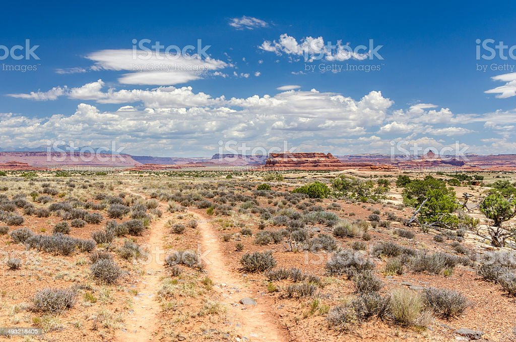 Unmade Desert Road and Blue Sky stock photo
