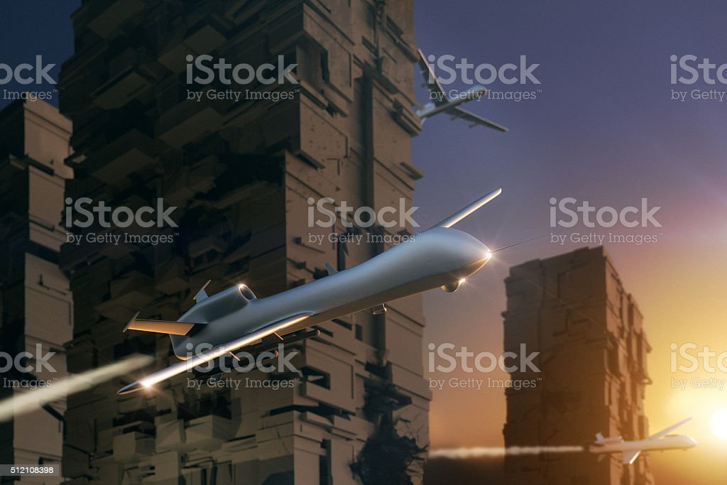 UAV Unmanned Aerial Vehicle (drone) attack city stock photo