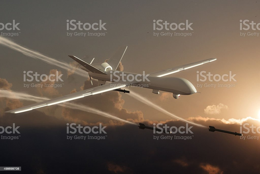 UAV Unmanned Aerial Vehicle (drone) attack stock photo