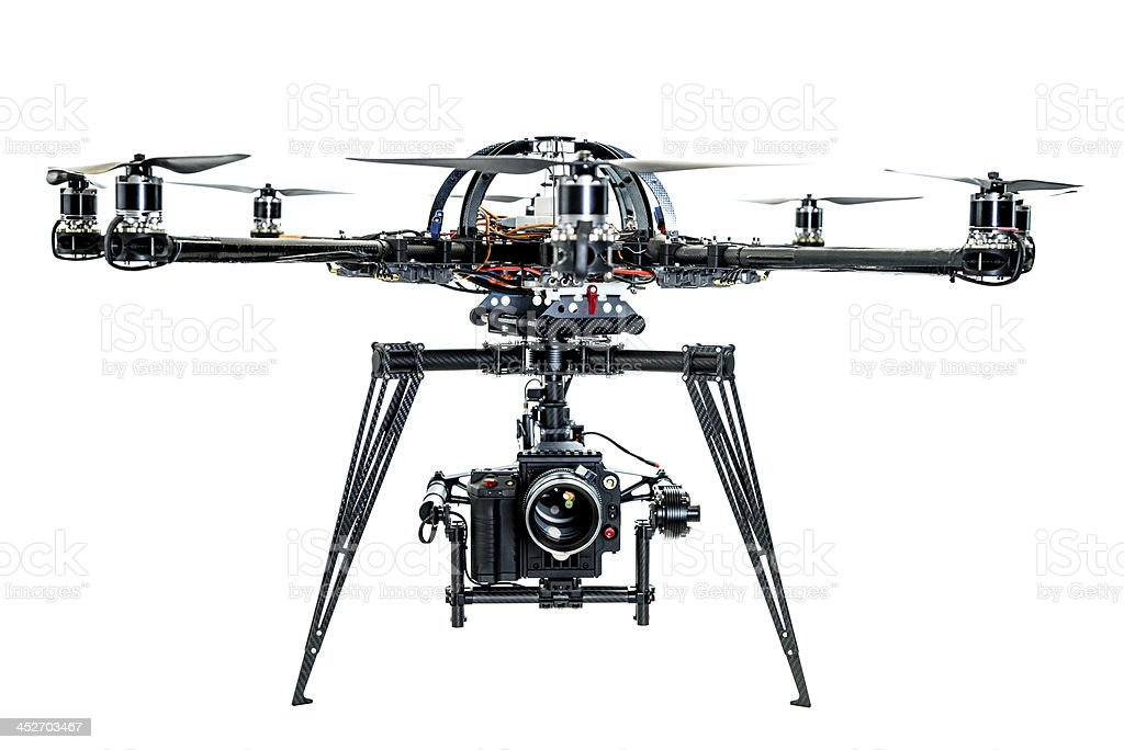 Unmanned aerial vehicle with camera stock photo
