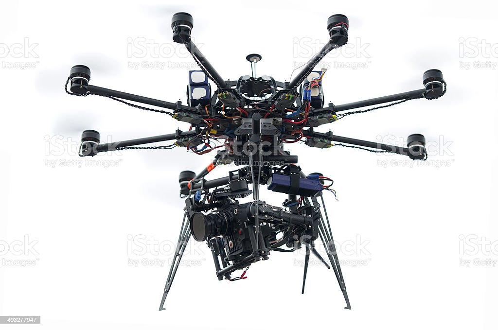 Unmanned Aerial Vehicle with Cinema Camera stock photo