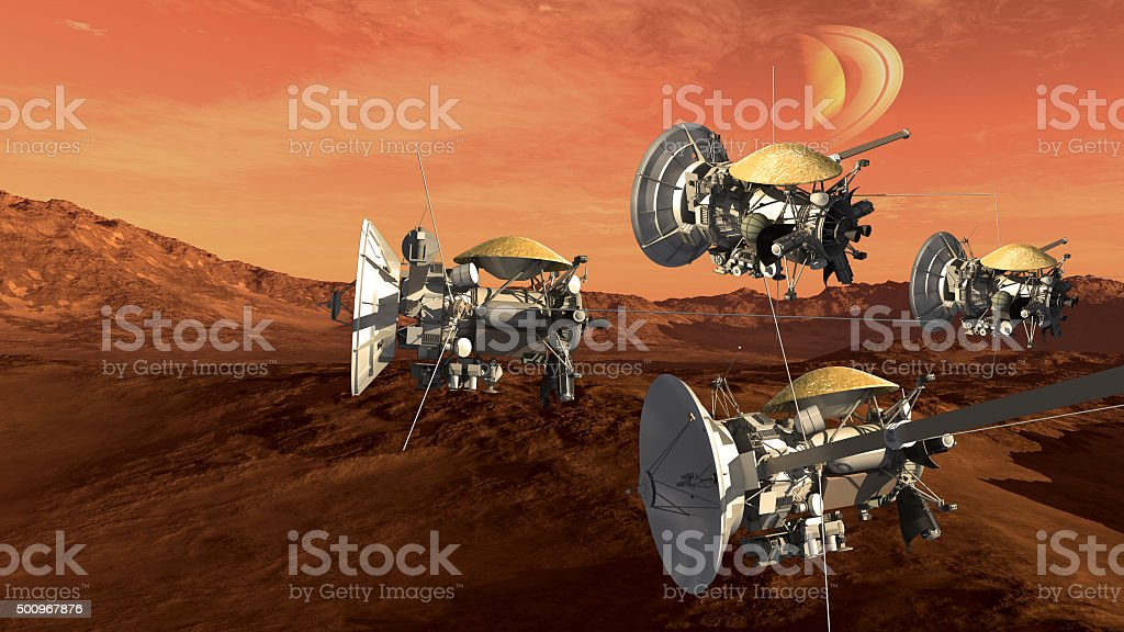 Unmanned spacecrafts scouting a red planet stock photo