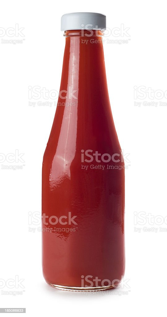 A unmarked bottle of tomato ketchup stock photo