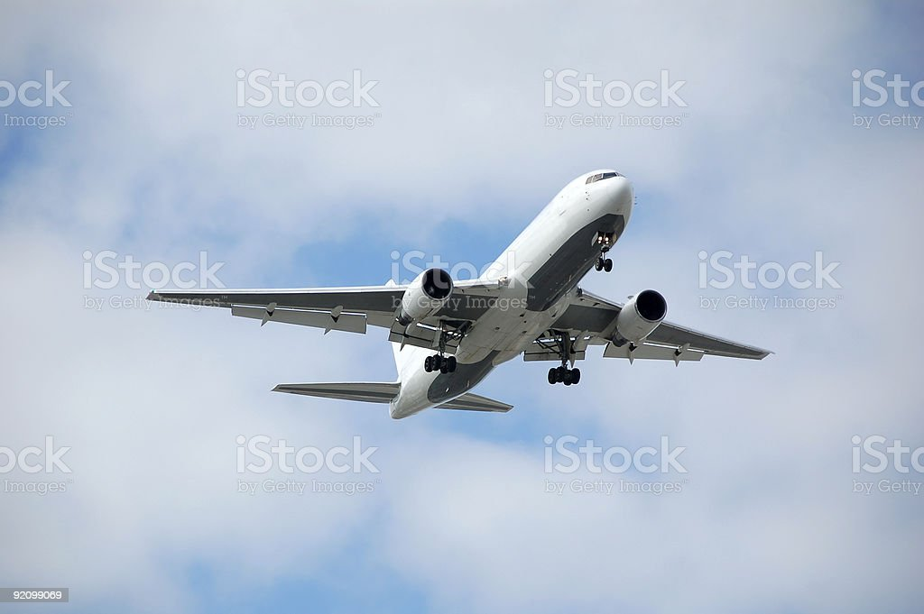 Unmarked white wide body jet royalty-free stock photo
