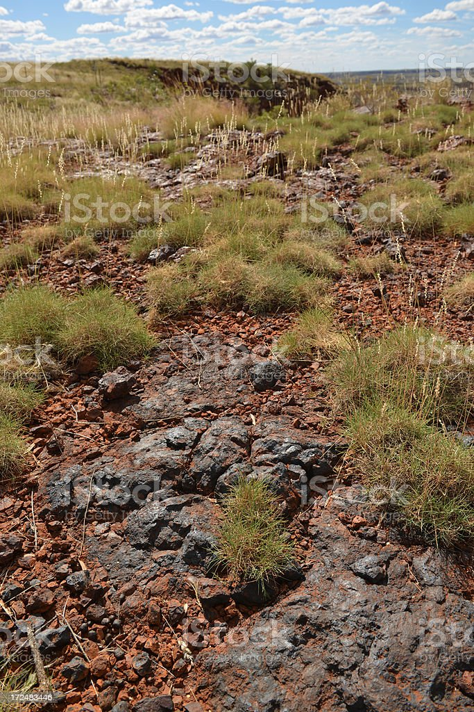 Unmined surface iron ore deposits surrounded by spinifex. royalty-free stock photo