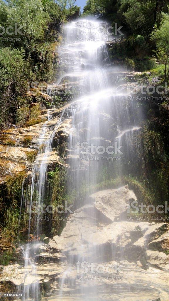 Unnamed waterfall on the way Karakoram highway stock photo