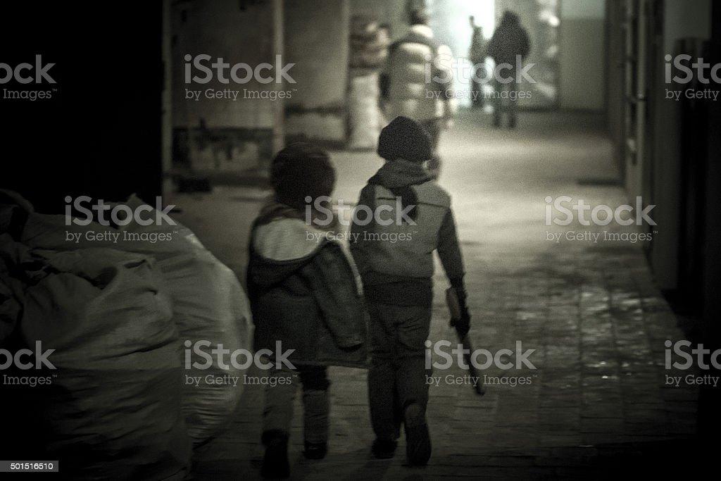 Unnecessary Kids At Street stock photo