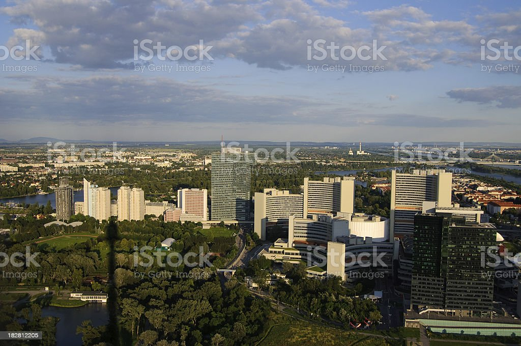 Uno City District - Vienna in evening light stock photo
