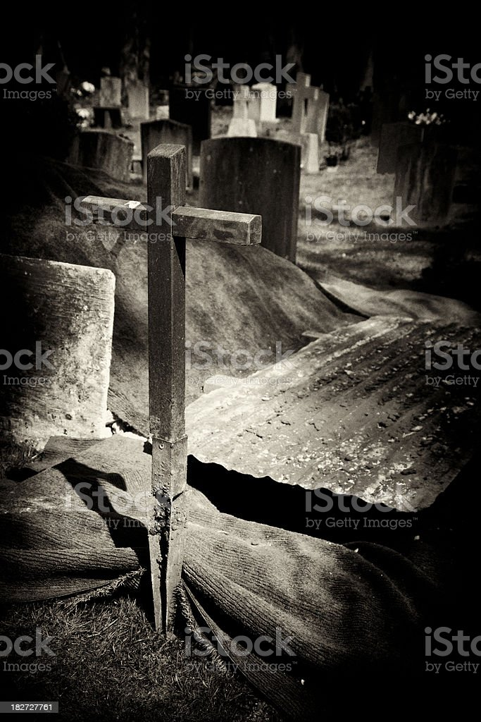 Unoccupied grave royalty-free stock photo