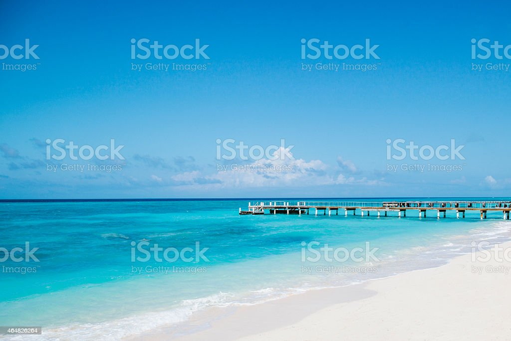 Unoccupied pier in the Caribbean stock photo