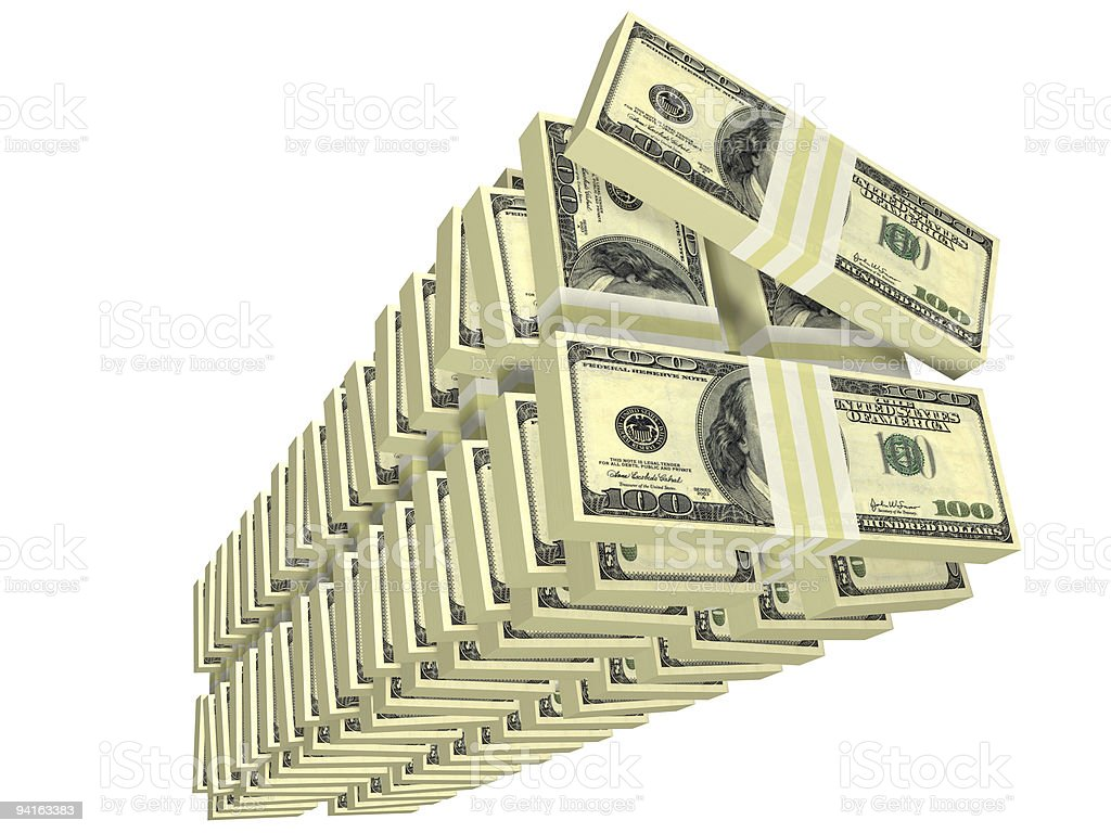 unordered tall stack of bills isolated royalty-free stock photo