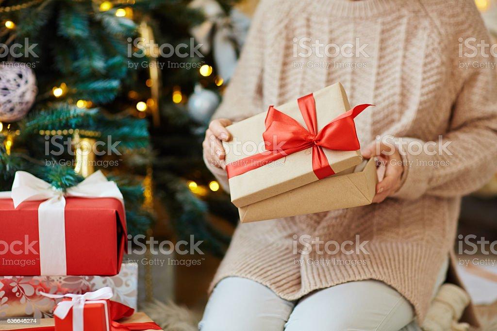 Unpacking gift stock photo