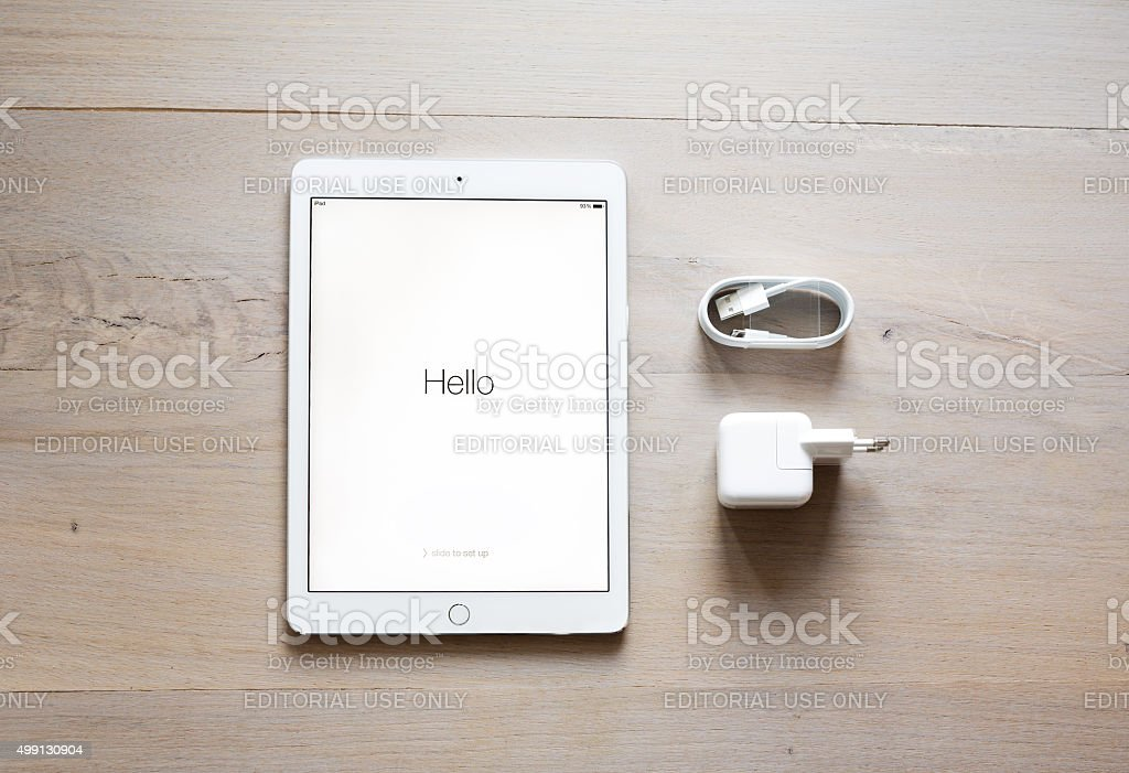 Unpacking New iPad Air 2 stock photo