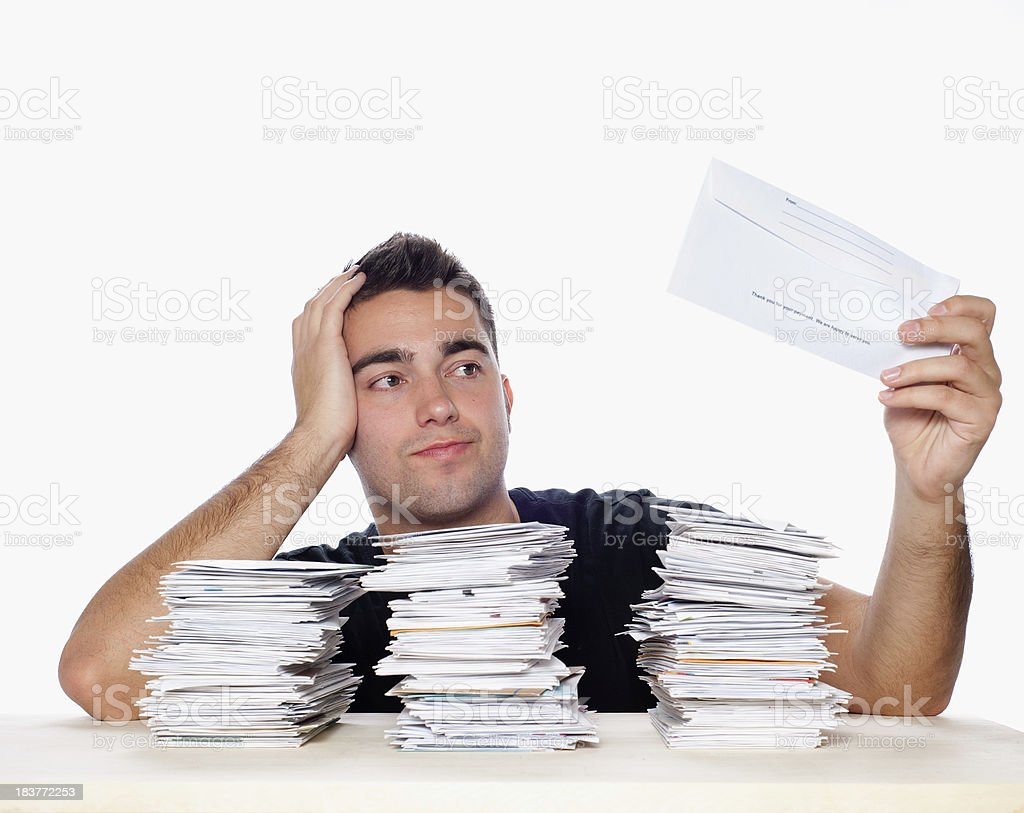 Unpaid Bills and Paperwork Overload royalty-free stock photo