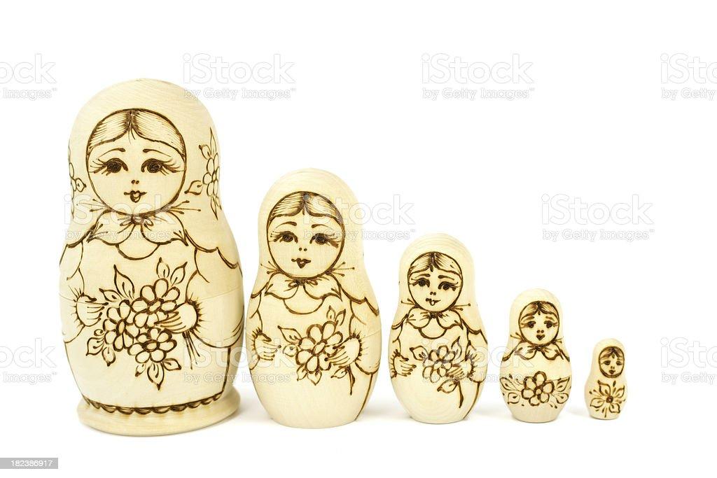 Unpainted Matryoshka dolls royalty-free stock photo