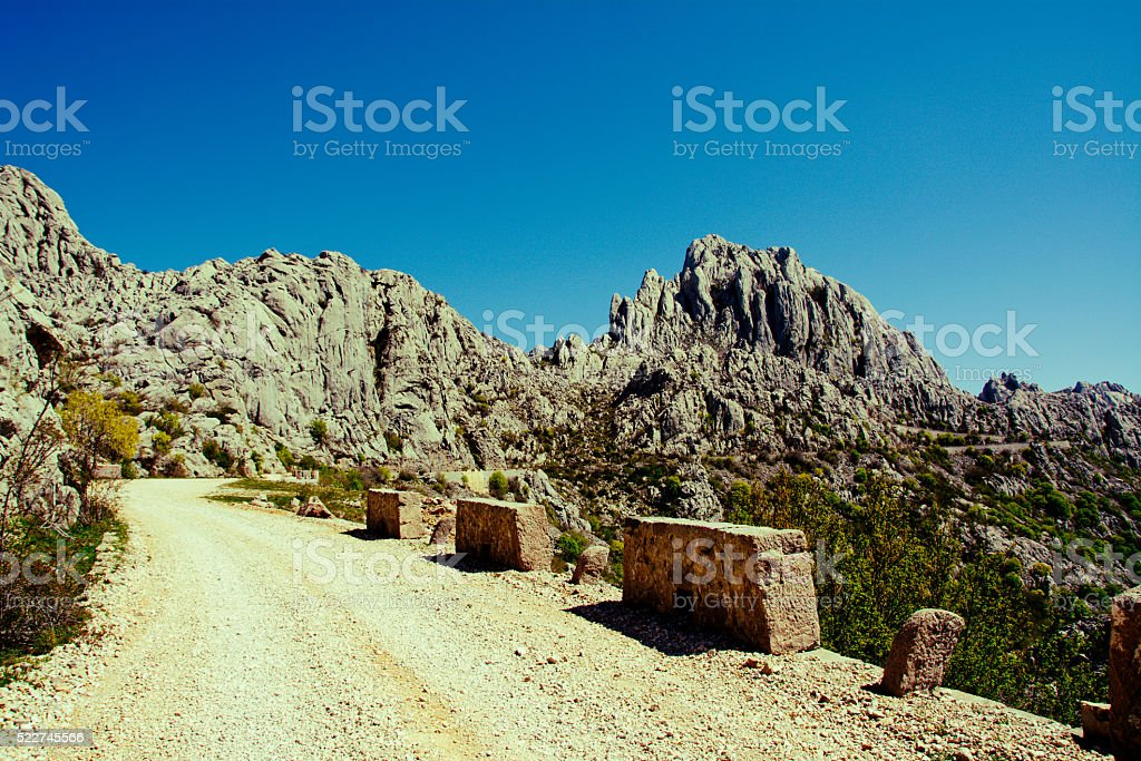 unpaved road in Dalmatia stock photo