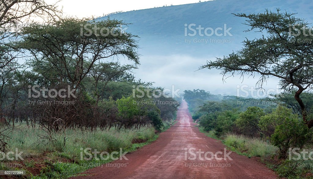 Unpaved road in Rural Africa, DR Congo stock photo