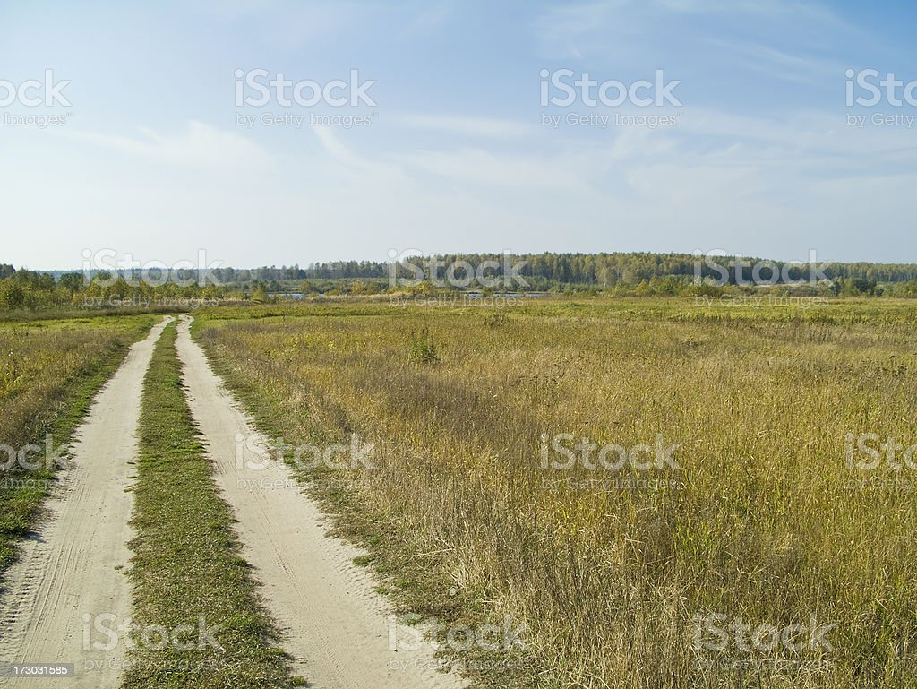 Unpaved road stock photo