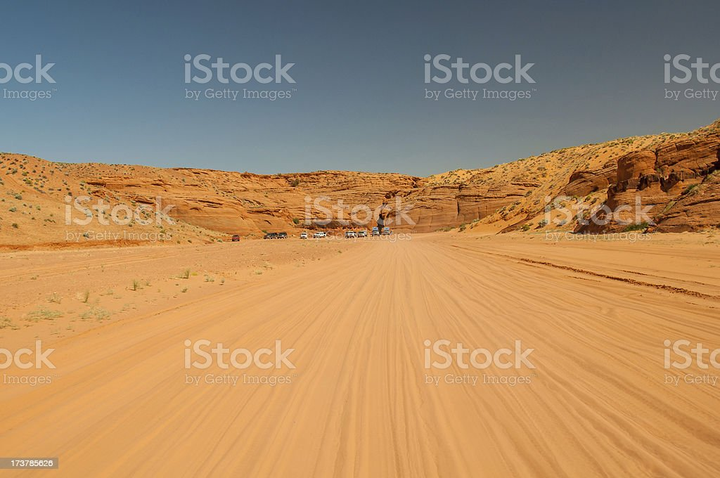 Unpaved road to Antelope Canyon within the Navajo Indian Reservation royalty-free stock photo
