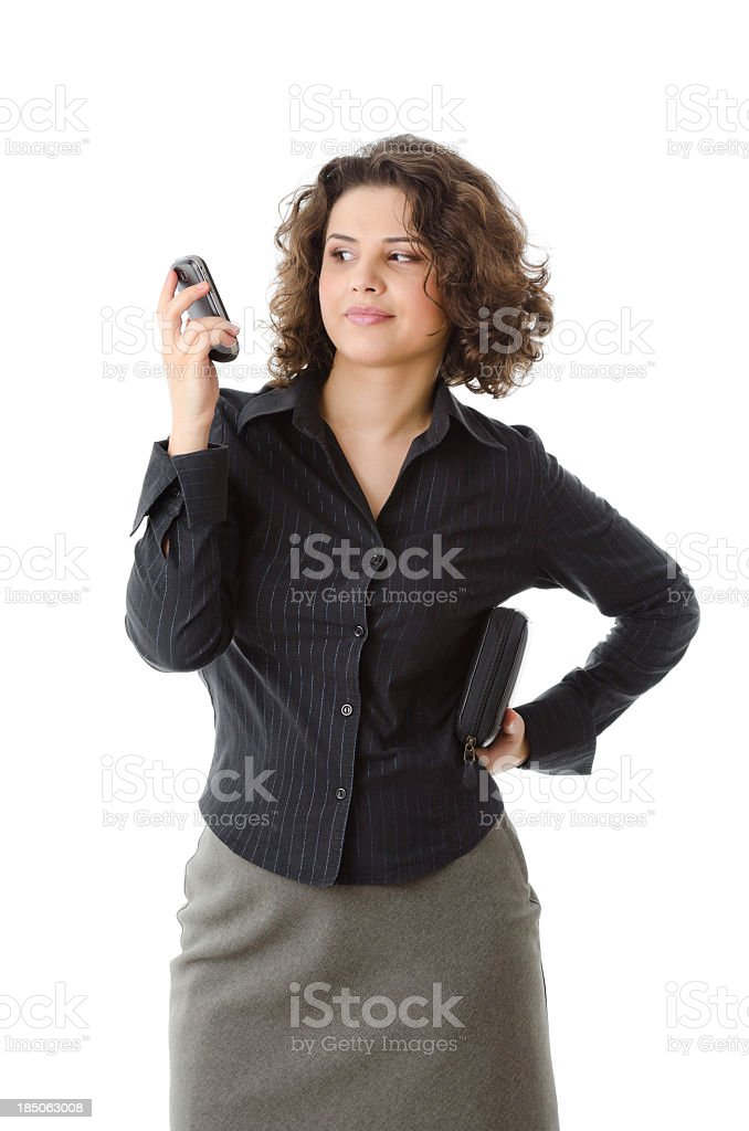 Unpleasant caller on the phone royalty-free stock photo