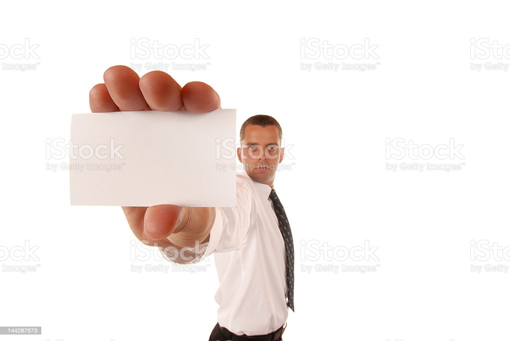 Unpleasant  young businessman with a card royalty-free stock photo
