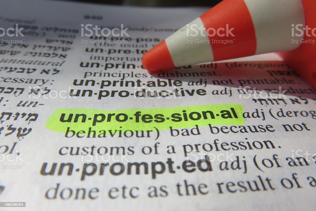Unprofessional - dictionary definition stock photo