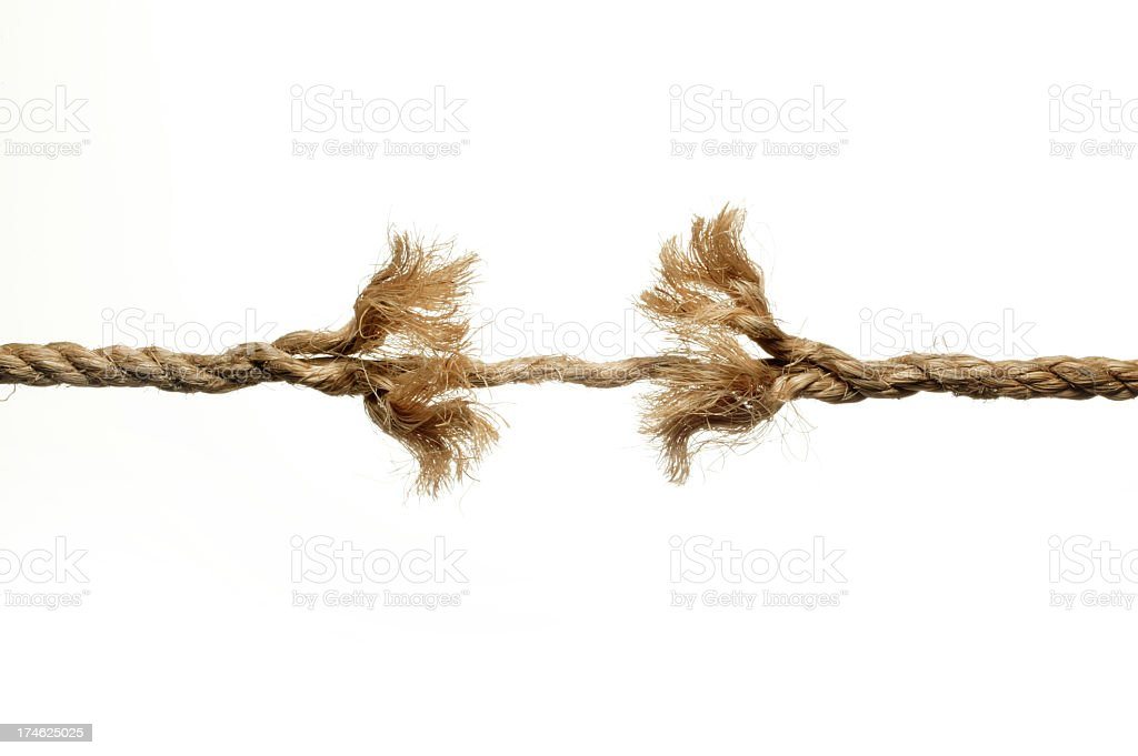 Unraveling rope isolated on white background stock photo