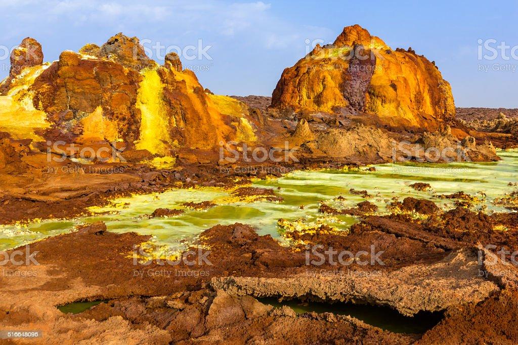 Unreal landscape of Danakil depression stock photo