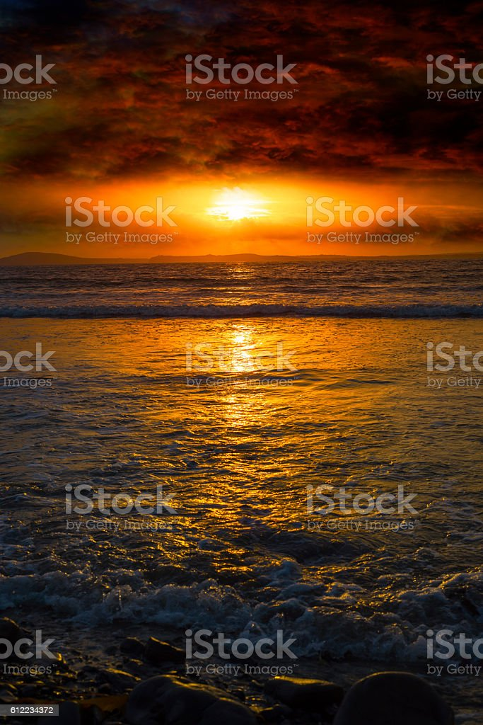 unreal sunset from beal beach stock photo