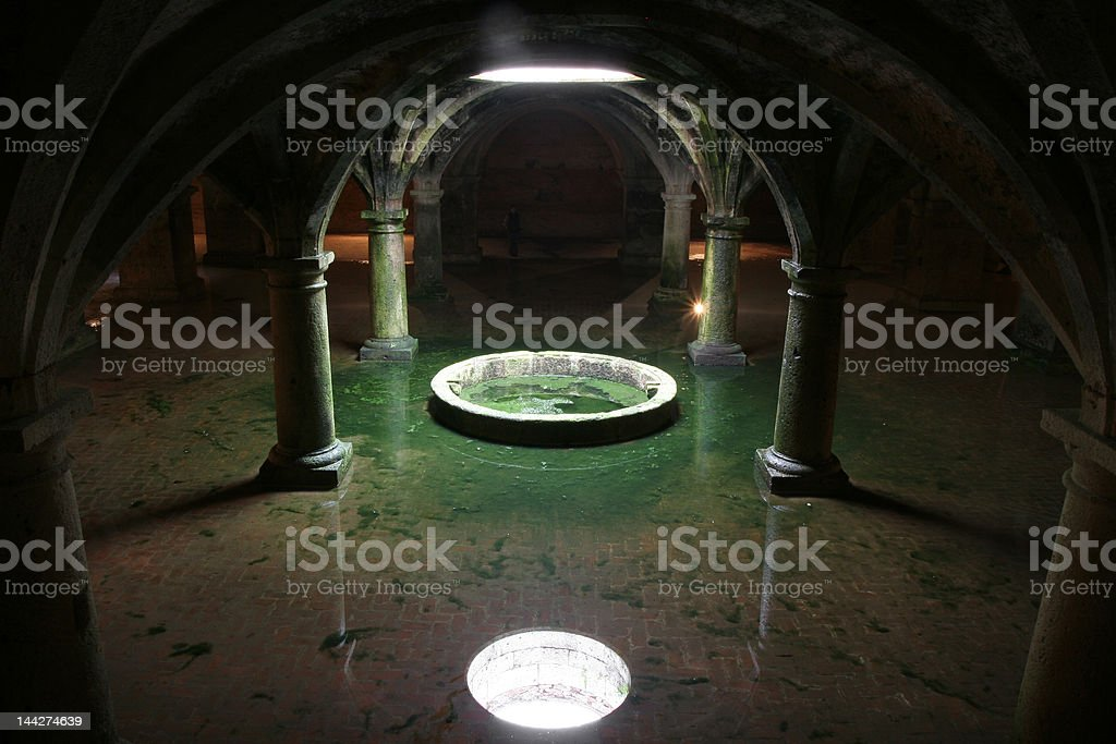 Unreal vaults reflection in water stock photo