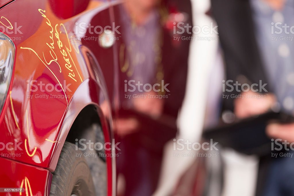 Unrecognizable accessor examining car damage for insurance after accident stock photo