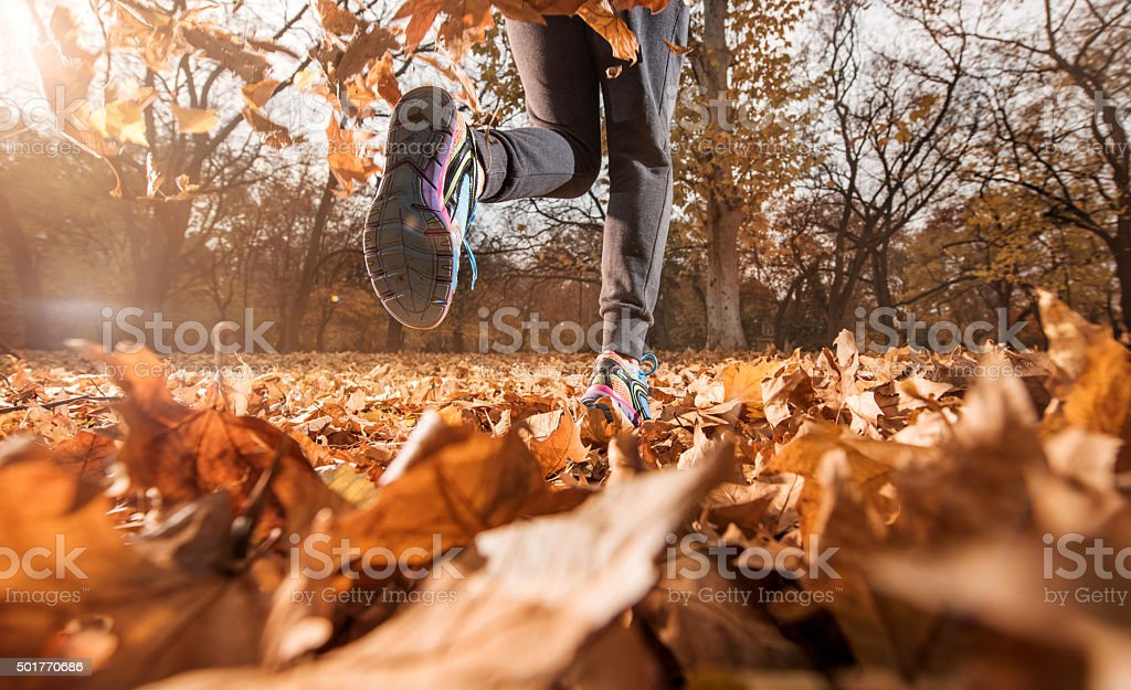 Unrecognizable athlete jogging on autumn leaves in the park. stock photo