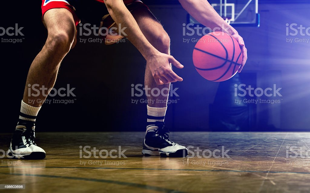 Unrecognizable basketball player exercising basketball. stock photo