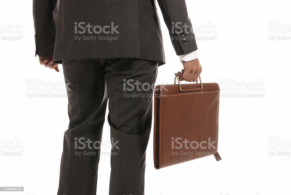 Unrecognizable businessman back with suitcase isolated on white background royalty-free stock photo