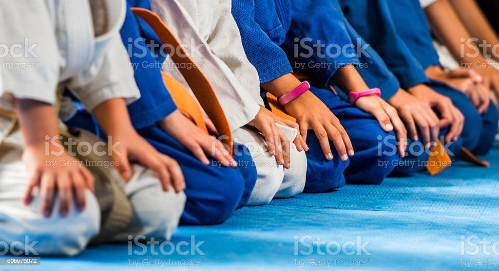 Unrecognizable children sitting in a row on karate training. stock photo