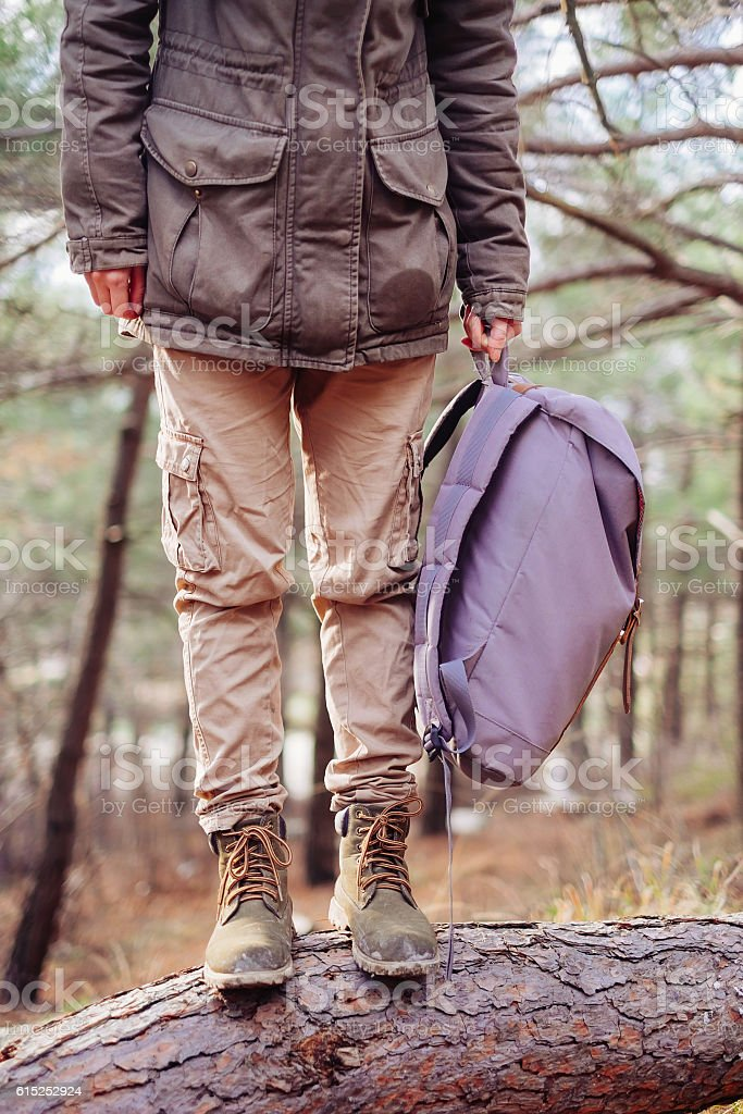Unrecognizable hiker with backpack outdoor stock photo
