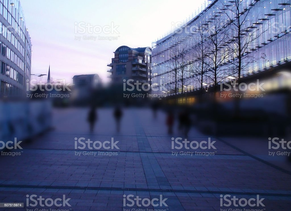 Unrecognizable People Walking At European Union Parliament stock photo
