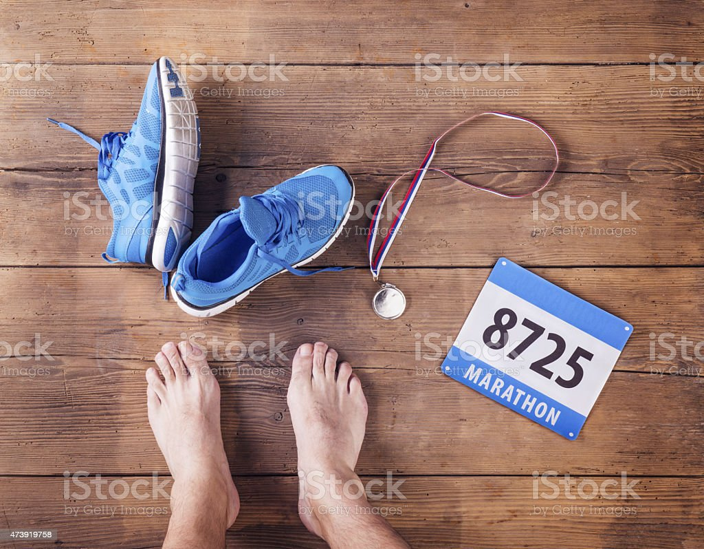Unrecognizable runner stock photo