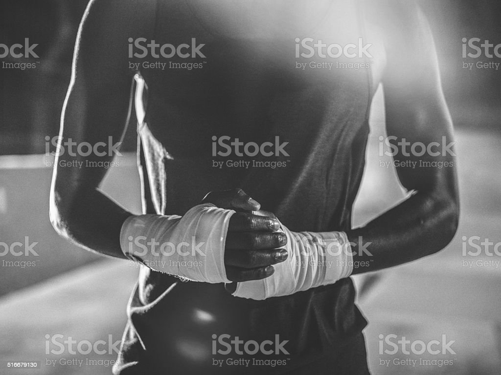 Unrecognizable shot of african-american boxer hands stock photo