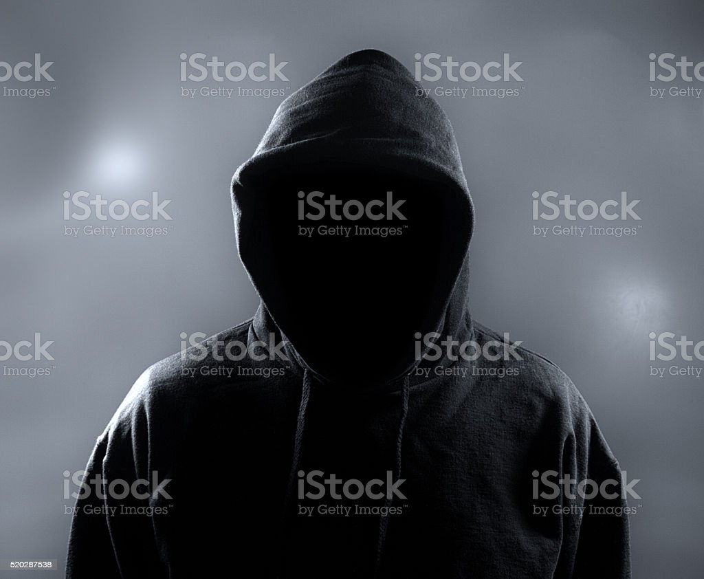 Unrecognized, Hooded Person in Night stock photo