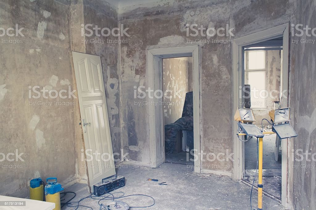 unrenovated flat - room before renovations stock photo