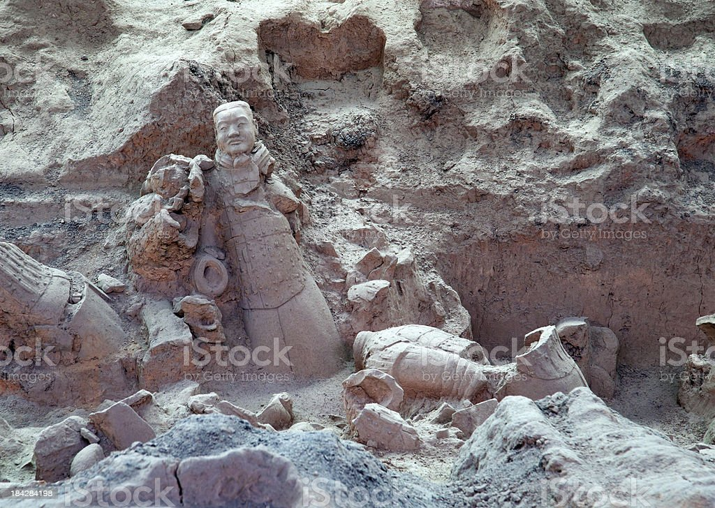 Unrestored Burried Terracotta Warriors in Xi'an, China stock photo