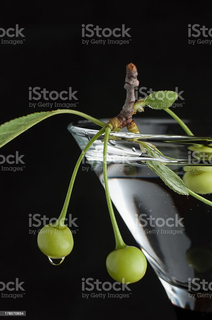 Unripe green cherry in glass on black royalty-free stock photo