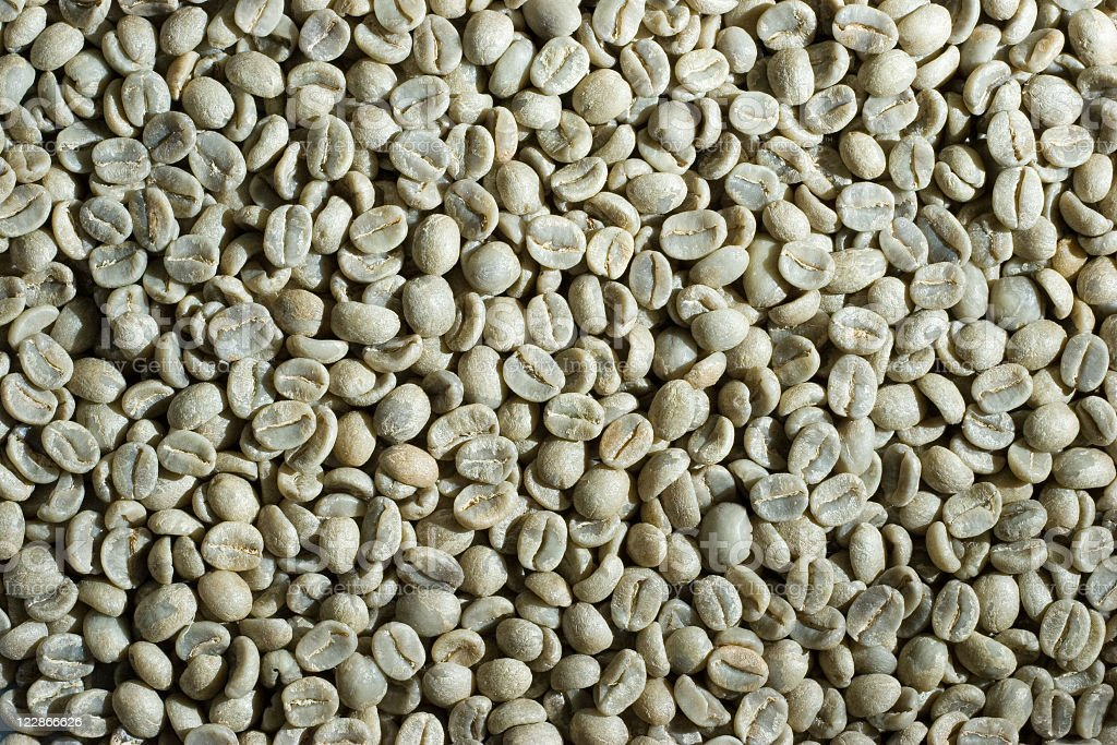 Unroasted Green Coffee Beans royalty-free stock photo