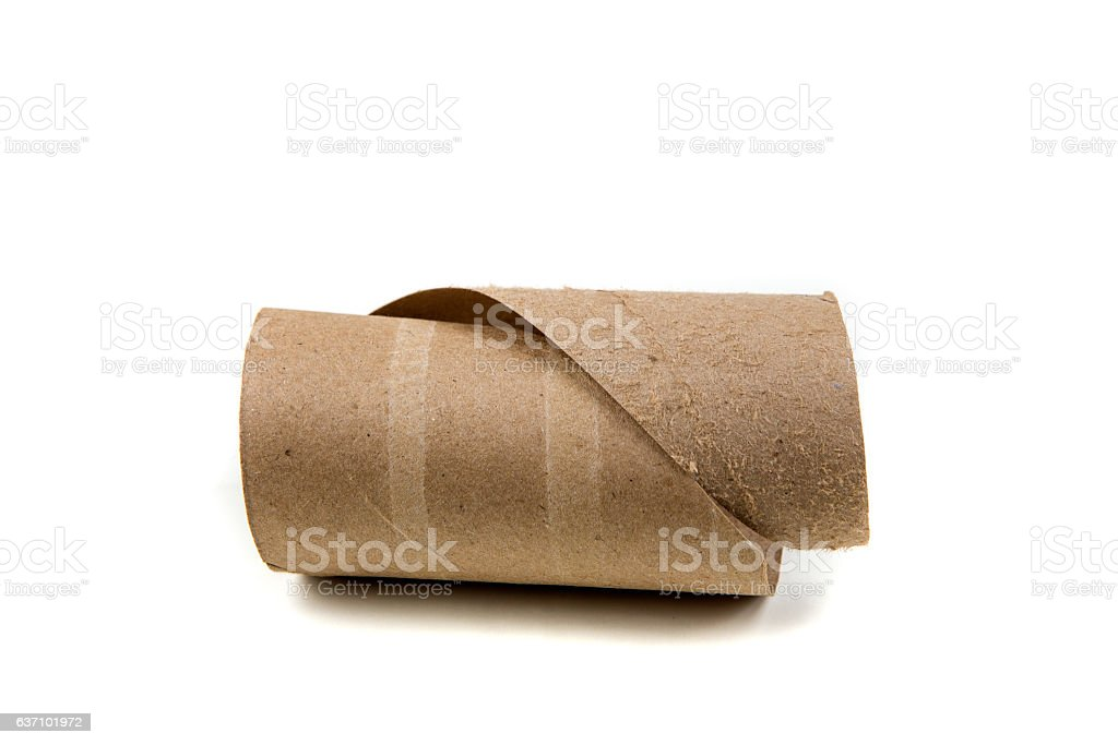 Unrolled toilet paper cylinder isolated on a white background stock photo