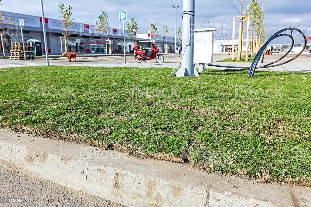 Unrolling grass, placed turf rolls on new lawn stock photo