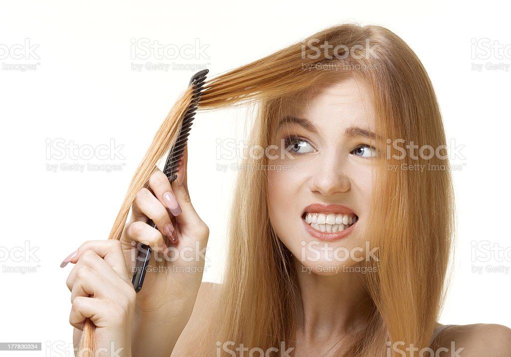 unruly hair stock photo